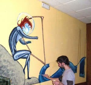 Paint to the wall for the pub L'Espelma Cau St. Hilari de Sacalm Pitu Álvarez